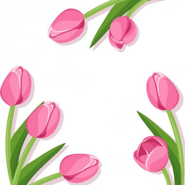 Background with pink tulips. Vector illustration.