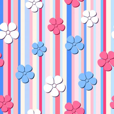 Vector seamless pattern with flowers on a striped background.