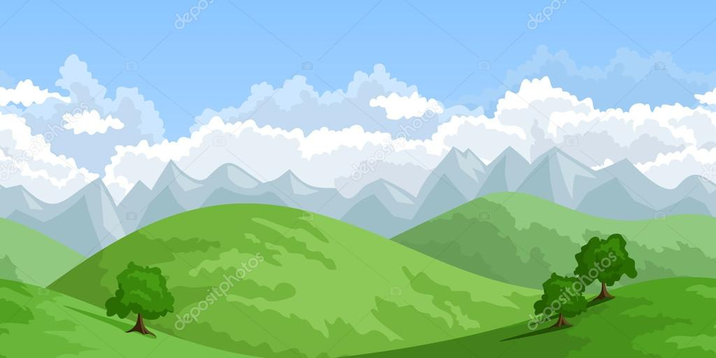 Horizontal seamless summer landscape. Vector illustration.