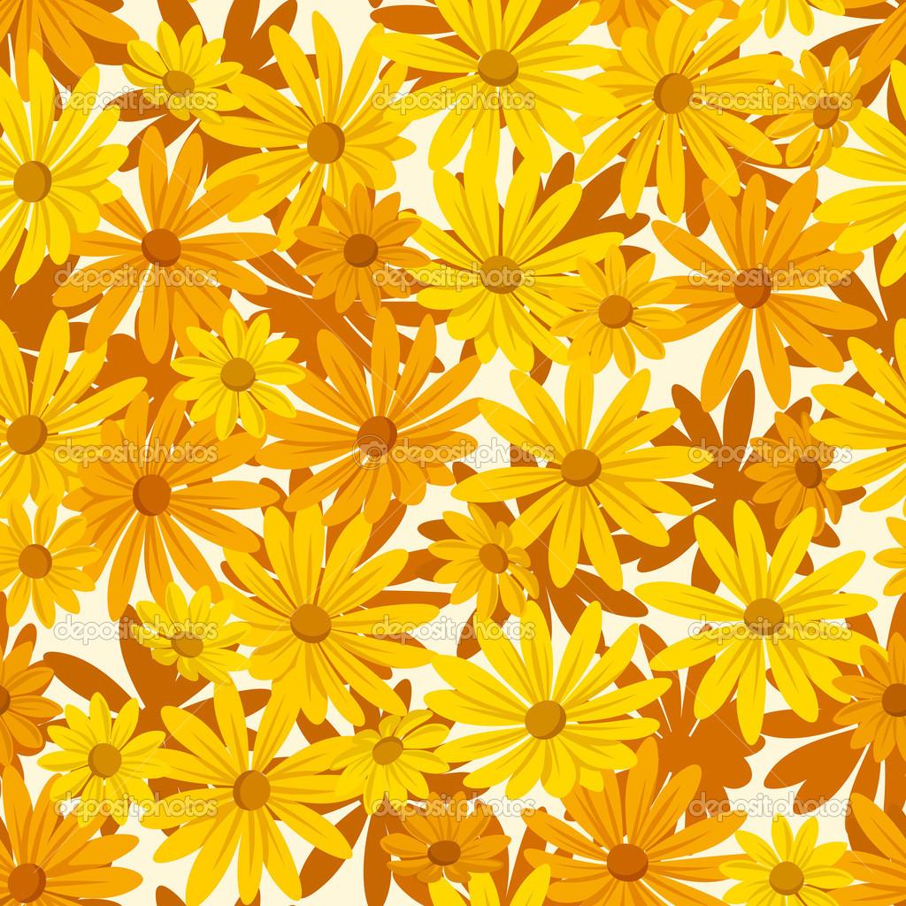Well-known plano de fundo sem emenda com flores alaranjadas e amarelas  NS27