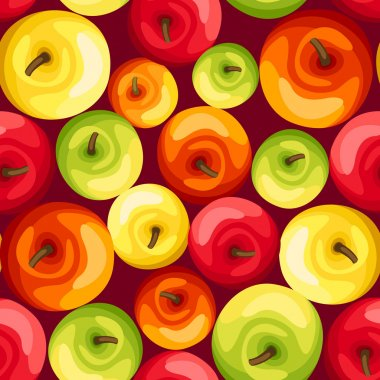 Seamless background with colorful apples. Vector illustration.
