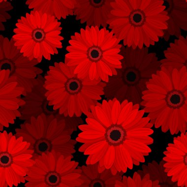 Seamless pattern with red gerbera flowers. Vector illustration.