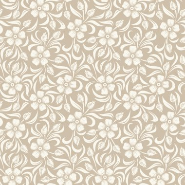 Vector seamless background with beige vintage floral pattern. stock vector