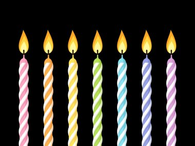Colorful birthday candles. Vector illustration.