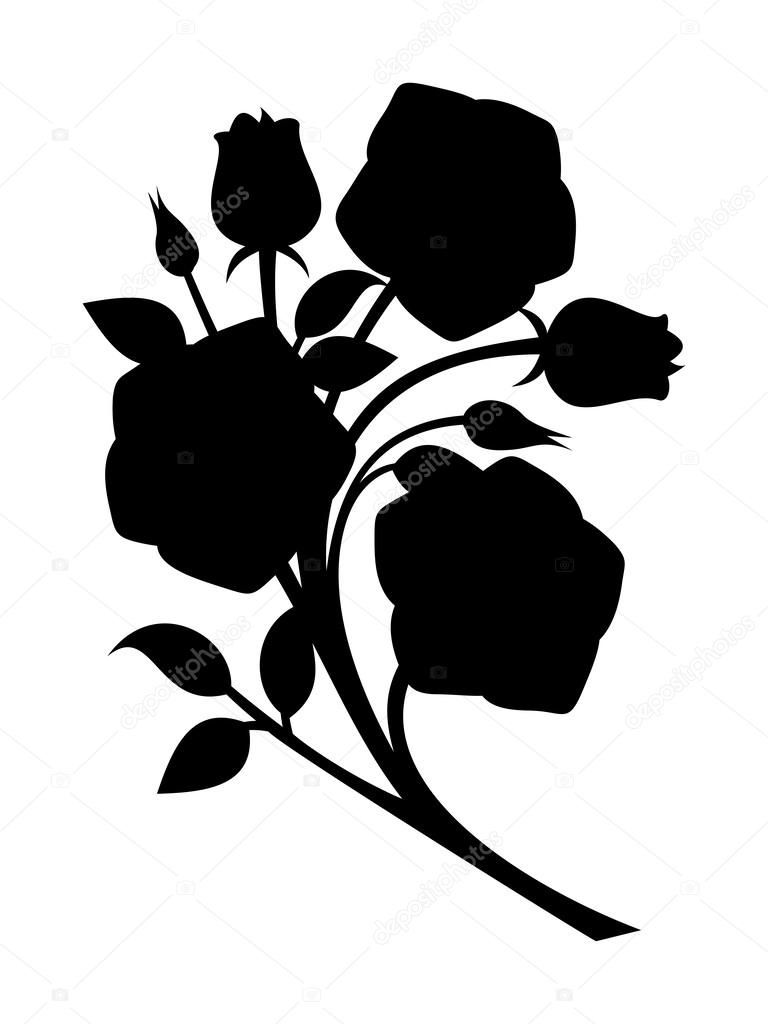 Black silhouette of roses branch. Vector illustration.