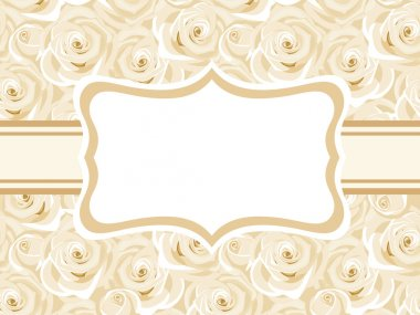 Vector vintage card with white roses. stock vector