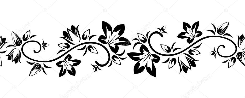 Flores Vectoriales Con Fondo Transparente: Viñeta Sin Costuras Horizontal Con Flores. Ilustración