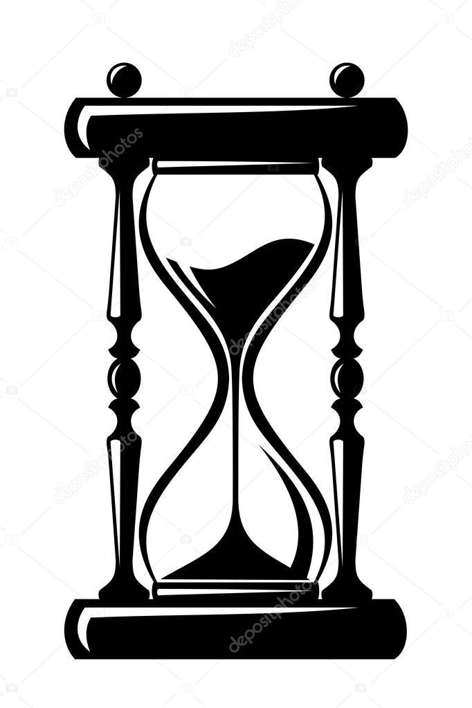 Vector Reloj De Arena Blanco Y Negro Reloj De Arena Silueta