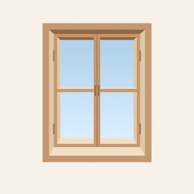 Wooden closed window. Vector illustration.