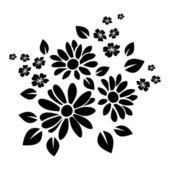Fotografie Black silhouette of flowers. Vector illustration.