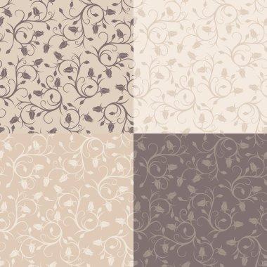 Set of four vintage seamless patterns with rose buds. Vector illustration.