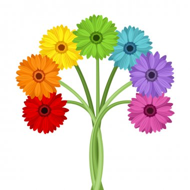 Bouquet of colorful gerbera flowers. Vector illustration.