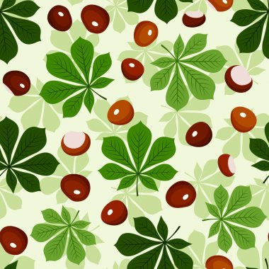 Seamless pattern with chestnuts and green chestnut leaves. Vector illustration.