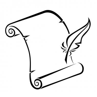 Black silhouette of paper scroll and feather pen. Vector illustration.