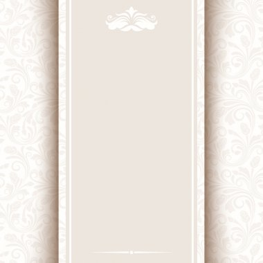 Vector card with beige floral pattern.