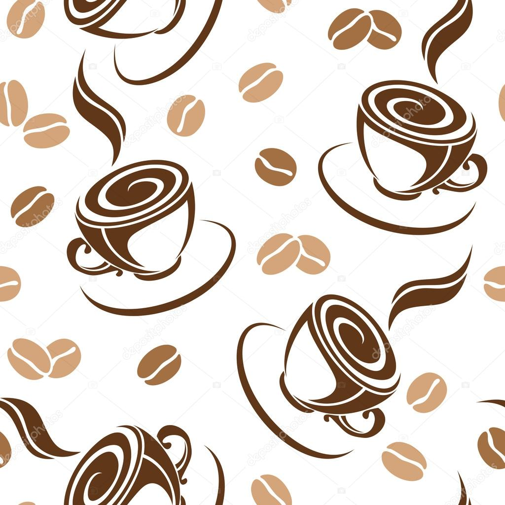 Seamless Background With Coffee Beans And Cups. Vector