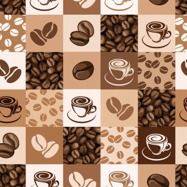 Seamless pattern with coffee beans and cups. Vector illustration.