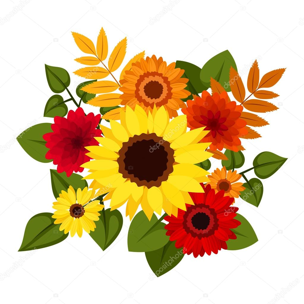 Autumn colorful flowers. Vector illustration.