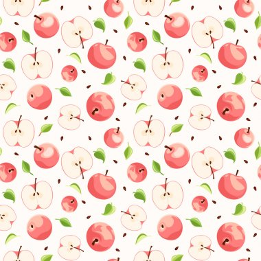 Seamless background with pink apples. Vector illustration.