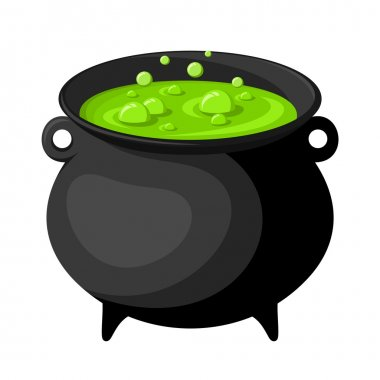 Black witches cauldron with potion. Vector illustration.