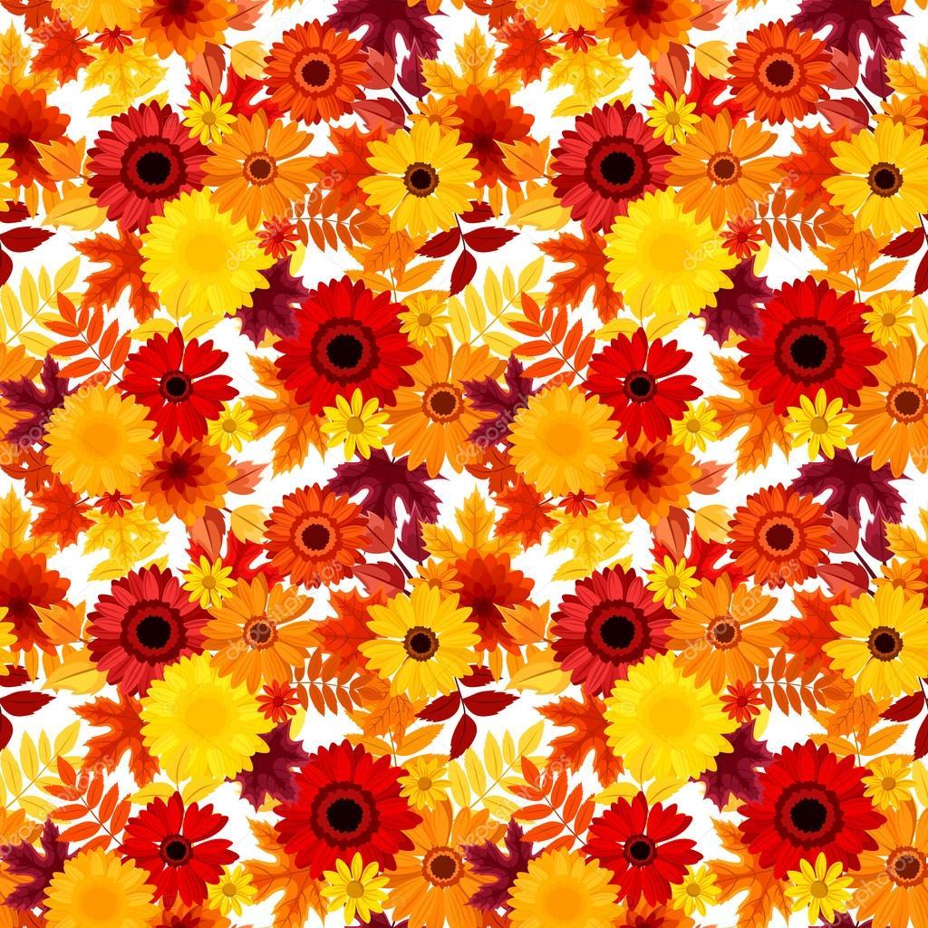 秋の花と葉とのシームレスな背景ベクトル イラスト ストックベクター