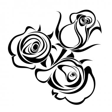 Rose buds. Vector black silhouette.