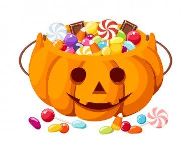 Halloween candies in Jack-O-Lantern bag. Vector illustration.