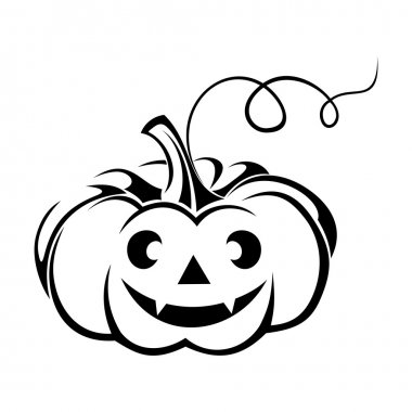 Black silhouette of Jack-O-Lantern (Halloween pumpkin). Vector illustration.