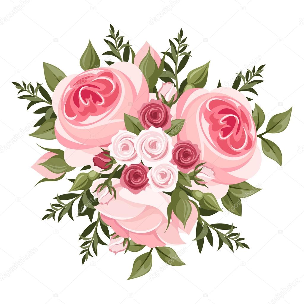 ピンクのバラの花束ベクトル イラスト ストックベクター Naddya