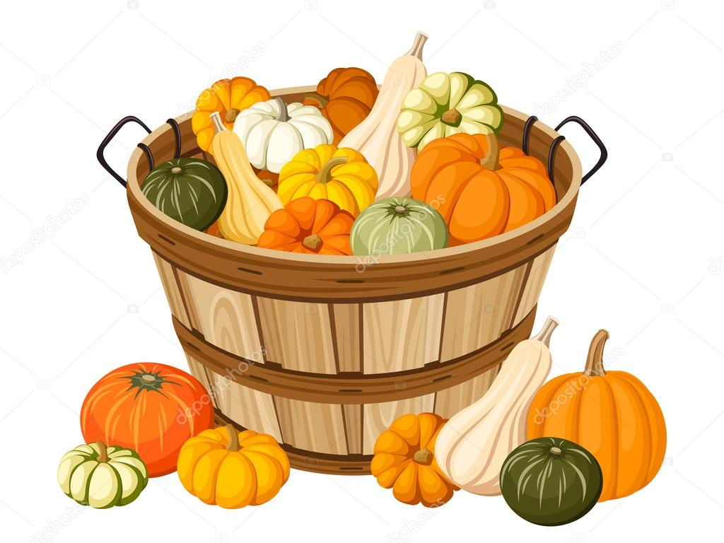 Wooden basket with pumpkins. Vector illustration.