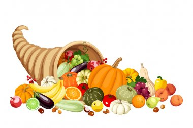 Autumn cornucopia (horn of plenty) with fruits and vegetables. Vector.