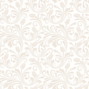 Vector vintage beige seamless pattern with rose buds and leaves. stock vector