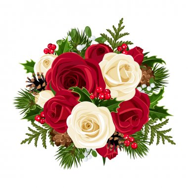 Vector Christmas bouquet with red and white roses, fir branches, cones, holly and mistletoe. stock vector