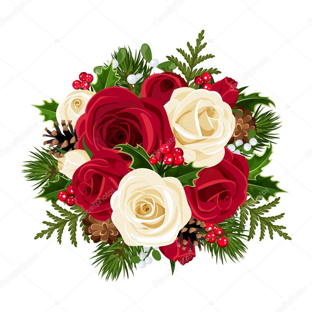 Weihnachten blumenstrauss mit Rosen. Vektor-illustration ...