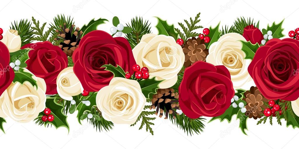 Weihnachten horizontale nahtlose Hintergrund mit Rosen. Vektor ...