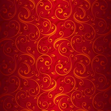 Seamless gold floral pattern on red. Vector illustration.