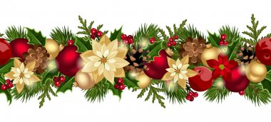 Vector Christmas horizontal seamless background with red and gold balls, fir branches, cones, poinsettia, apples and holly. stock vector