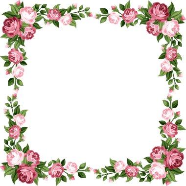 Vintage frame with pink roses. Vector illustration.