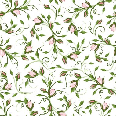 Vector seamless pattern with pink rose buds on a white background. stock vector