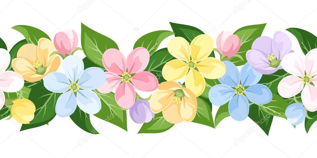 Flores Vectoriales Con Fondo Transparente: Vector Fondo Transparente Horizontal Con Flores De Colores