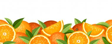 Horizontal seamless background with oranges. Vector illustration.