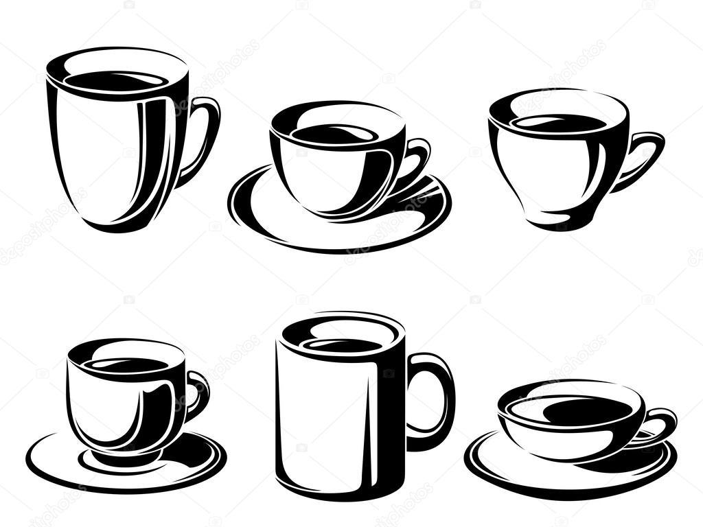 d83b34c2e2 Tea- és kávéfőző pohár készlet. vektor fekete sziluettek — Stock Vector