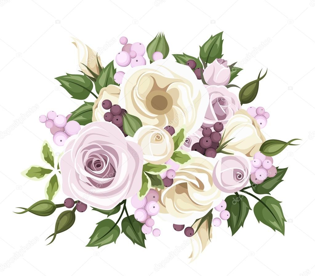 Bouquet of roses and lisianthus flowers vector illustration vector illustration of a bouquet with purple roses white lisianthus flowers pink and purple berries and green leaves vector by naddya thecheapjerseys Choice Image