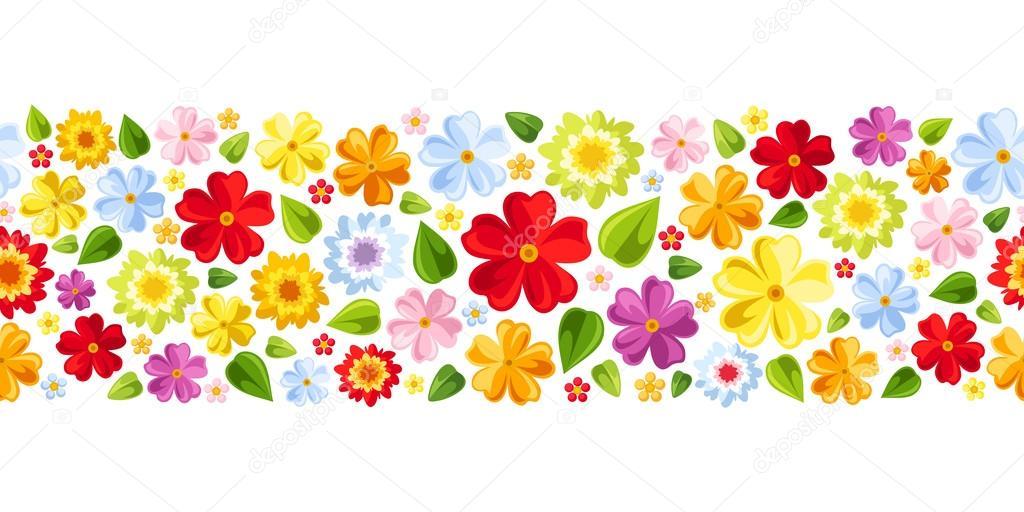Flores Vectoriales Con Fondo Transparente: Fondo Transparente Horizontal Con Flores De Colores