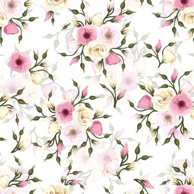 Vector seamless pattern with pink and white lisianthus flowers. stock vector