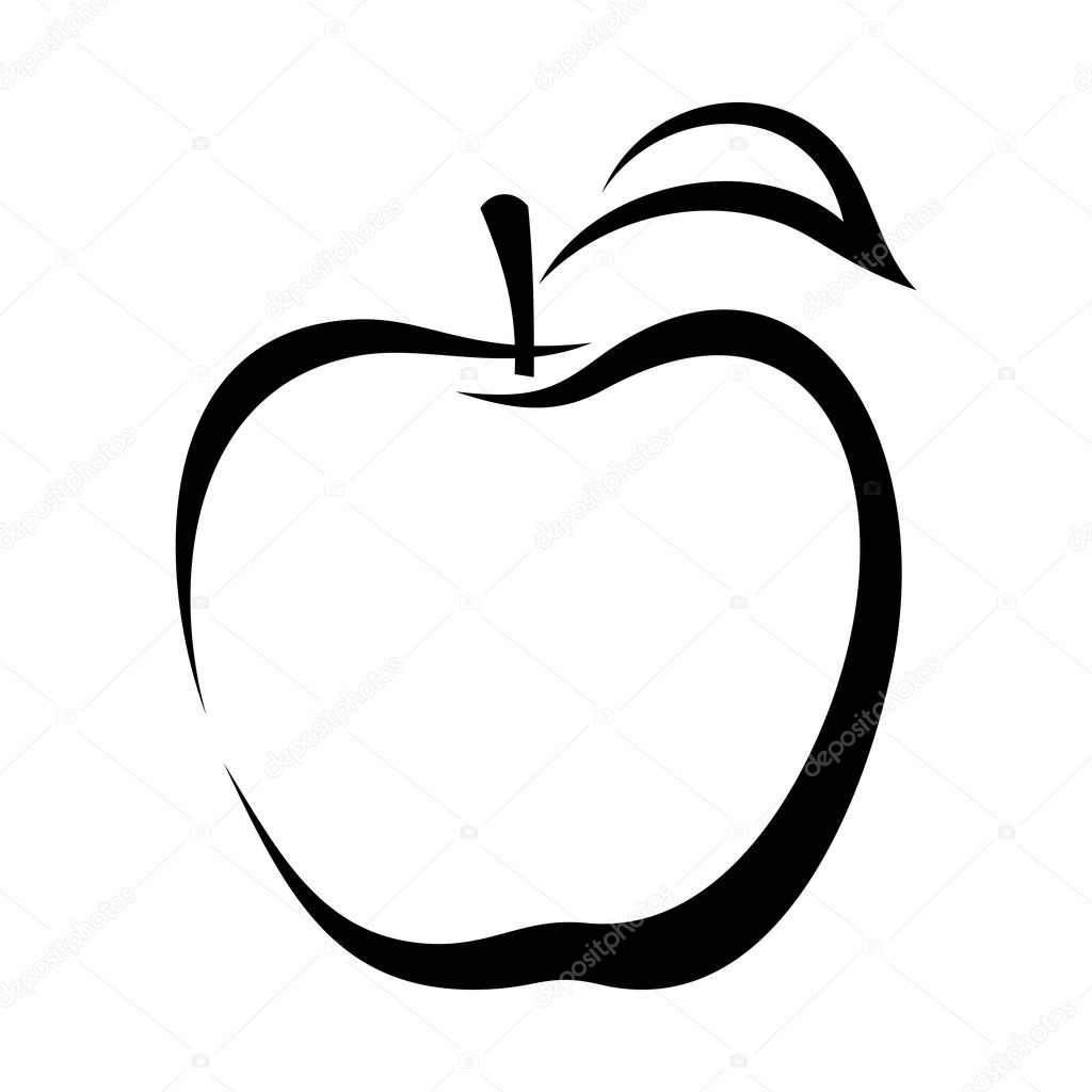 Apple. Vector black contour.