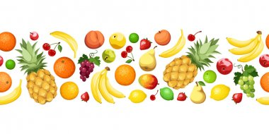 Horizontal seamless background with fruits. Vector illustration.