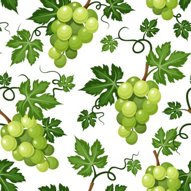 Seamless background with green grapes. Vector illustration.