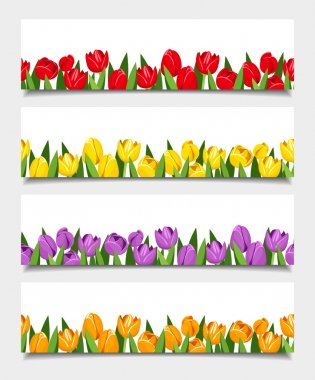 Vector banners with tulip flowers.