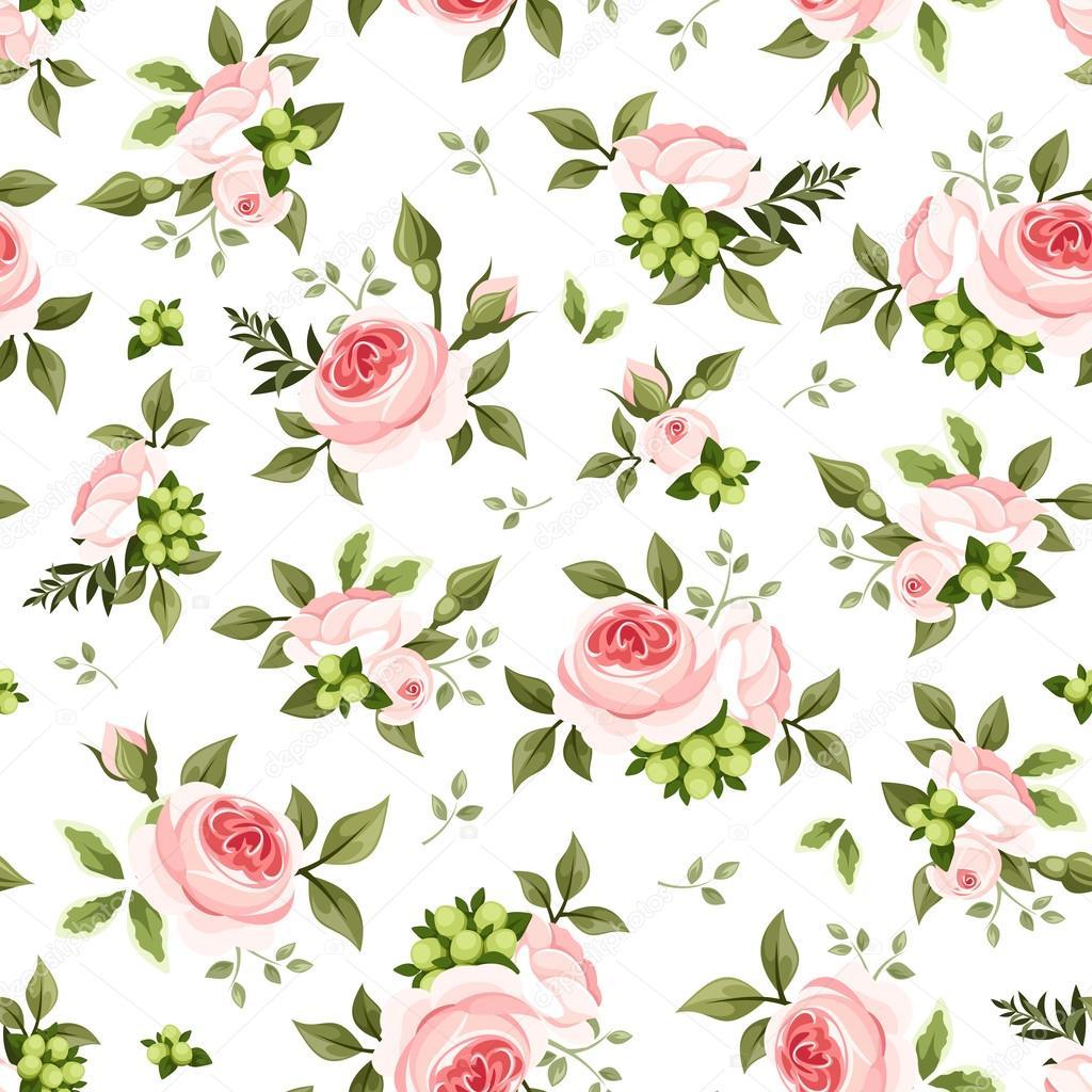 patrón sin costuras con rosas y hojas verdes. ilustración vectorial ...